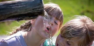 human-children-girl-blond-drink-water
